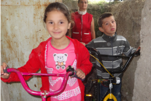Children trying out their new bikes