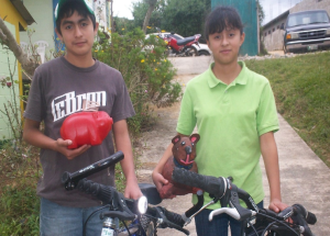 A brother and sister saved their change to purchase their own bicycles.