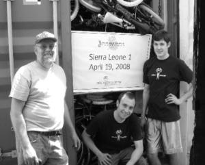 Dave, Greg and Adam with the first shipment to Sierra Leone