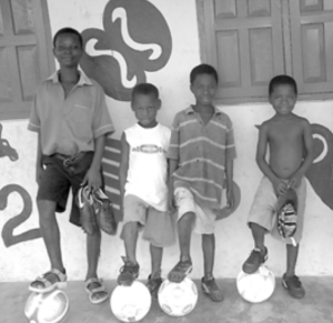 Recipients of soccer equipment from the Westchester NY Cycle Club