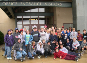 Students in front of the Tohickon Middle School Building after their collection