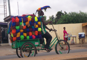 The Sponge Man, Opoku, on his daily route
