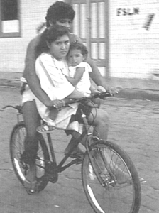 Family bicycling in Rivas