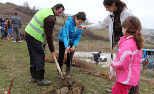 Planting trees at a local landfill in Albania