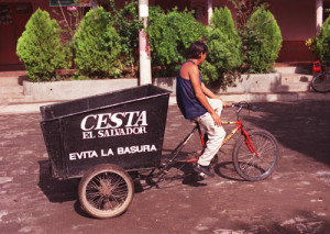Bicycle converted to a garbage truck