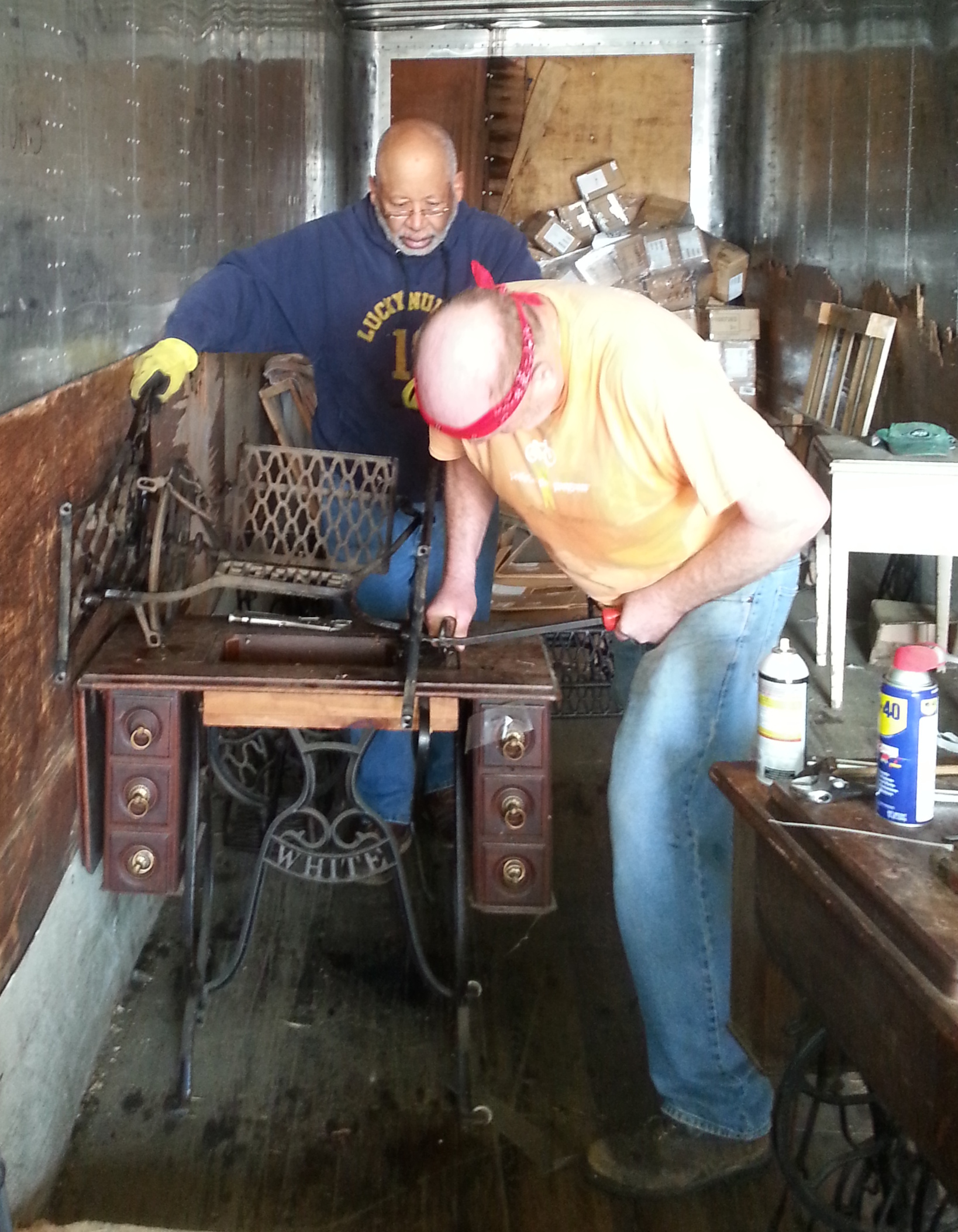 Dave and Robert processing treadle machines